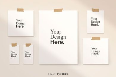 Taped poster mockup set design