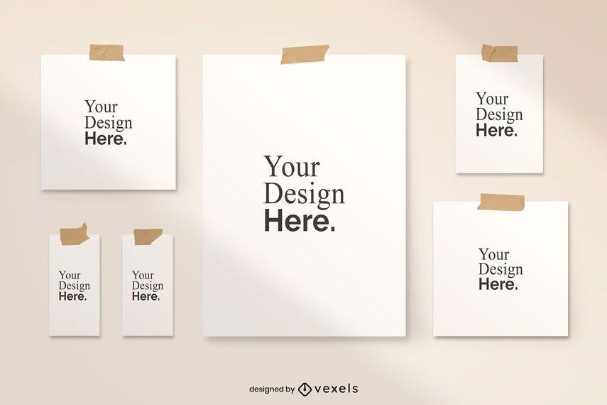Taped poster mockup set design
