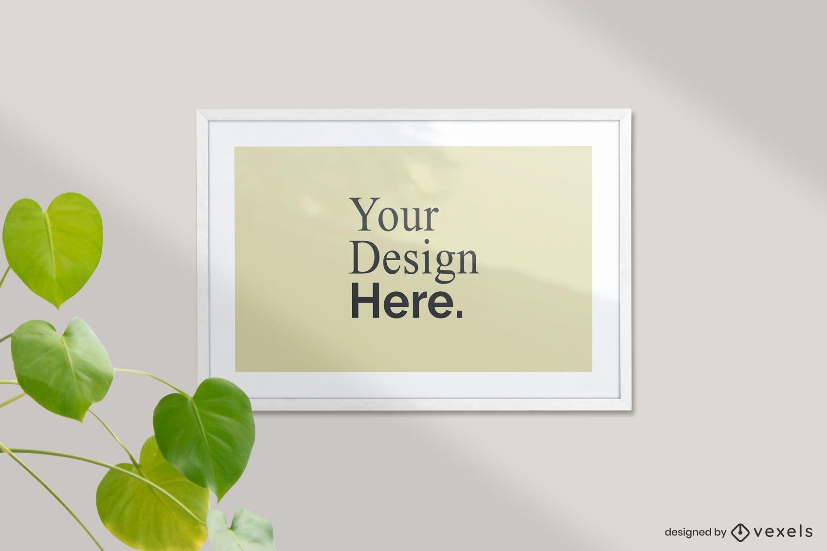 Framed horizontal poster mockup
