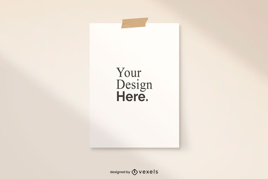 Taped poster mockup design