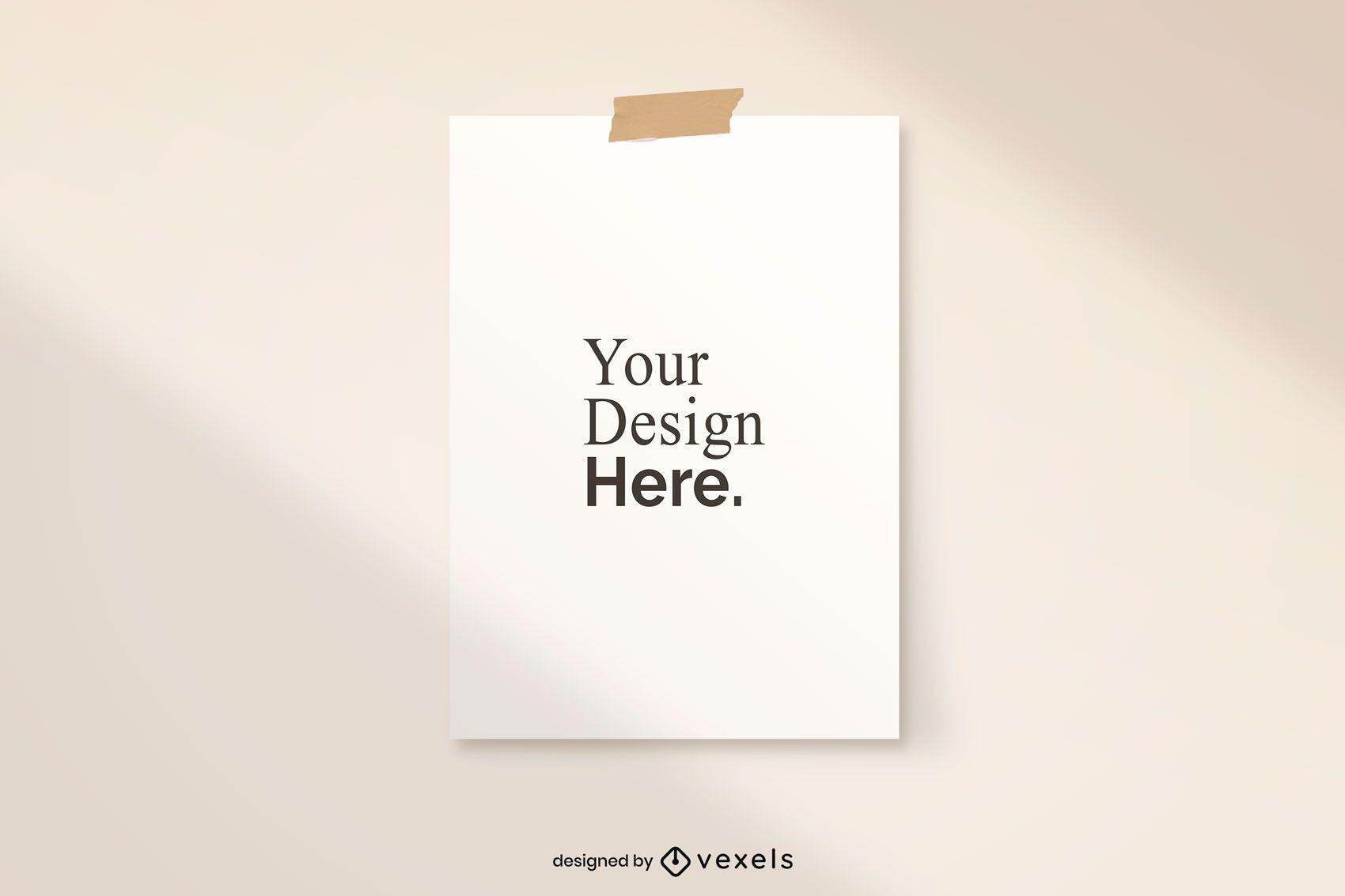 Taped poster mockup design