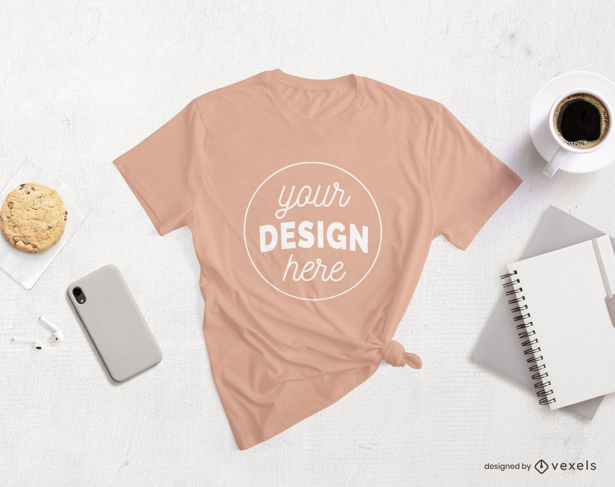 Modelo de produtos de estilo de vida de camiseta