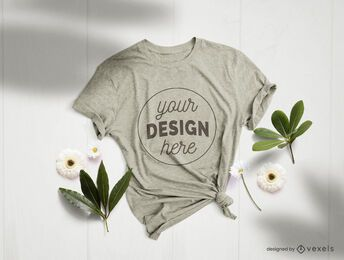T-shirt flowers mockup composition