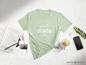 Composição de maquete de fotografia de t-shirt