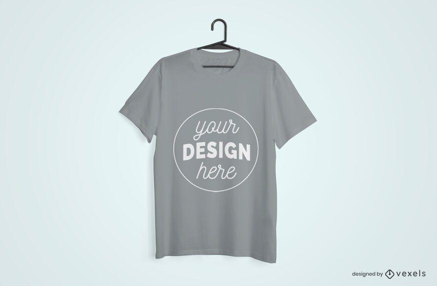 Design de maquete de t-shirt pendurada