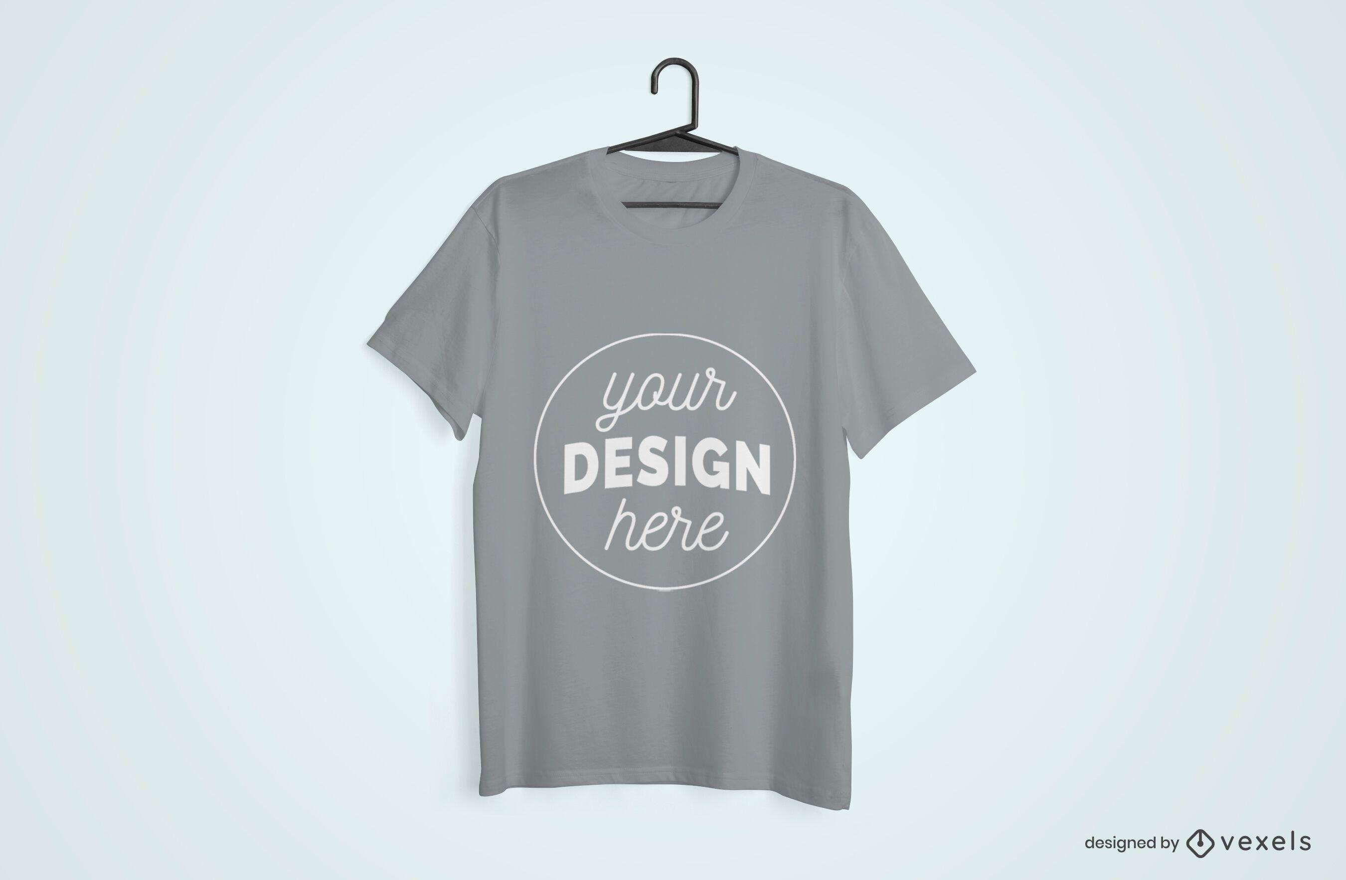 Diseño de maqueta de camiseta colgada