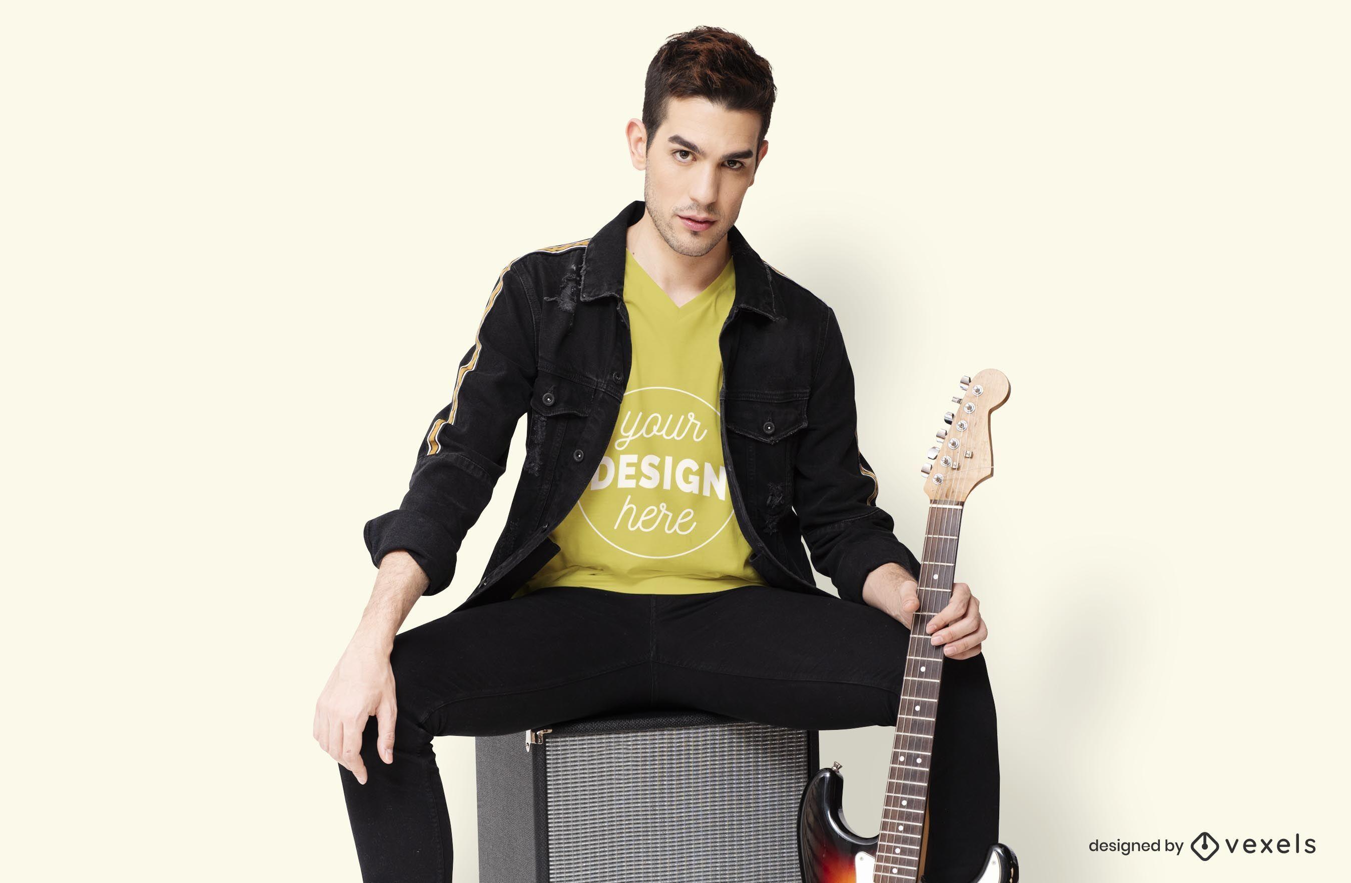 Model guitar t-shirt mockup