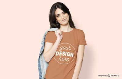 Woman with jacket t-shirt mockup