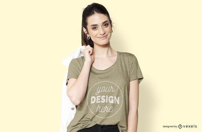 Chica con diseño de camiseta chaqueta