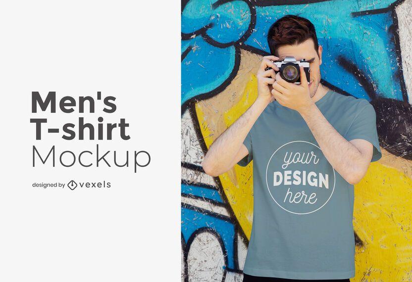 Design de maquete de camiseta masculina