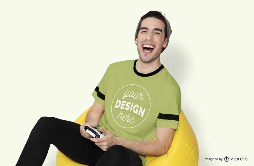 Gamer guy t-shirt mockup