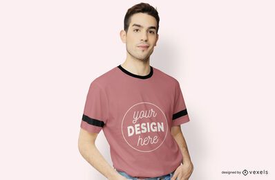 Camiseta modelo maqueta masculina