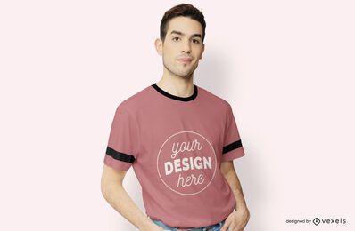 Modelo masculino maquete t-shirt