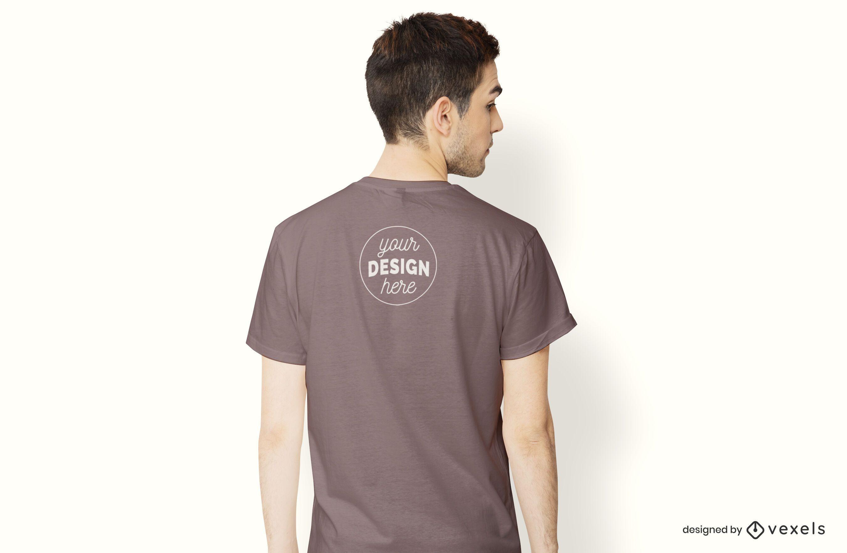 Model back t-shirt mockup