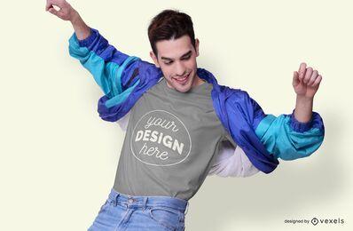 Maquete de t-shirt de jaqueta retrô homem