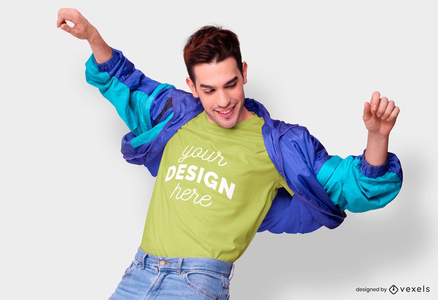 Maqueta de camiseta de chaqueta retro hombre