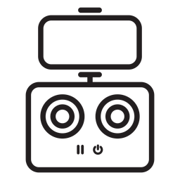 Icono de trazo de control de teléfono con dron