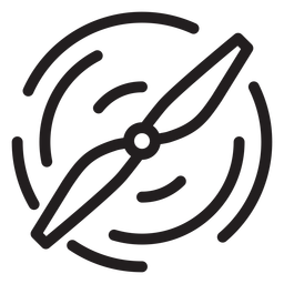 Icono de trazo de hélice de dron