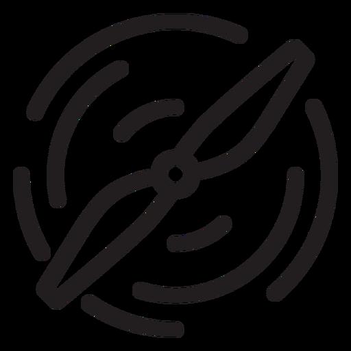 Icono de trazo de hélice de drone