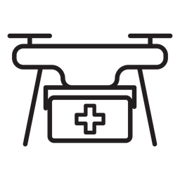 Icono de trazo de drone kit de primeros auxilios