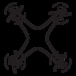 Icono de trazo de drone quadcopter volador