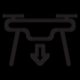 Icono de trazo de dron de aterrizaje
