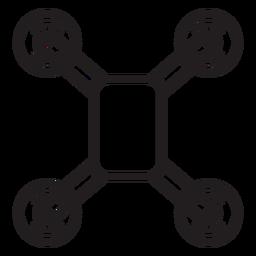 Ícone de traçado de vista superior do zangão Quadcopter