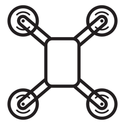 Quadcopter drone vista superior icono de trazo