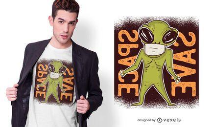 Diseño de camiseta alienígena mascarilla