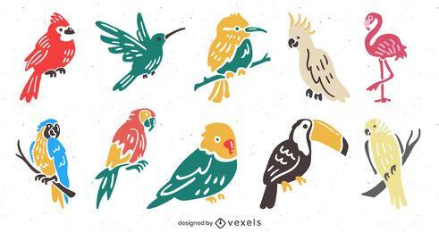 Conjunto de ilustração plana de pássaros tropicais