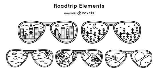 Pacote de design para óculos de sol de férias