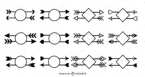 Conjunto de design de seta geométrica