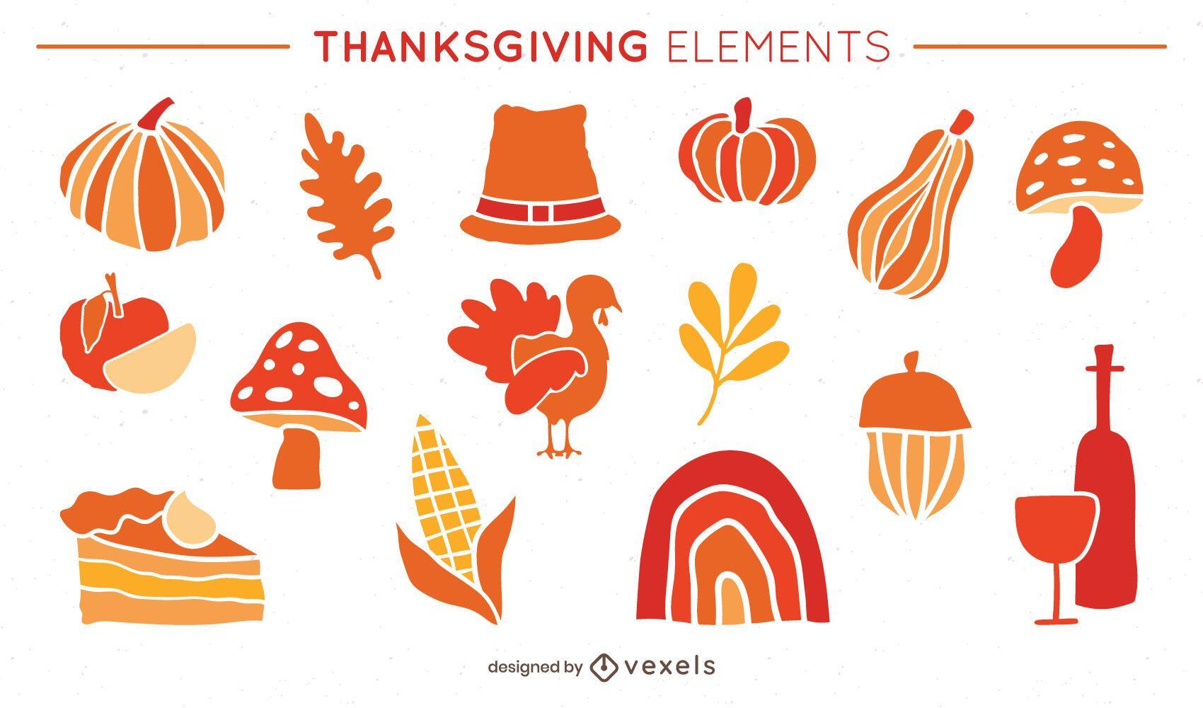 Conjunto de ilustración de elementos planos de acción de gracias