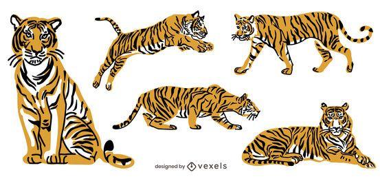 Pacote de animais de ilustração de tigre