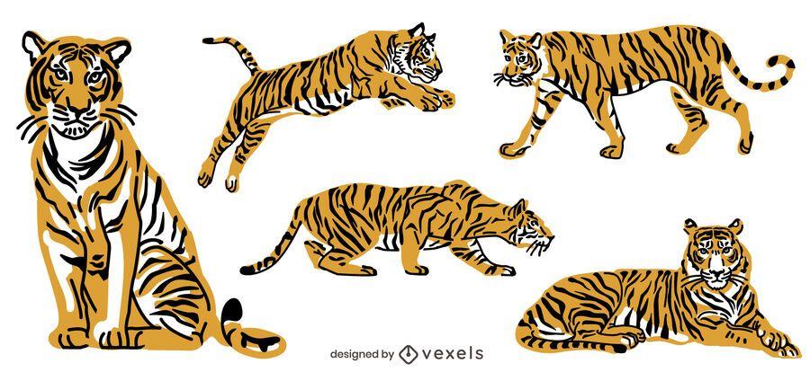 Pack de animales de ilustración de tigre
