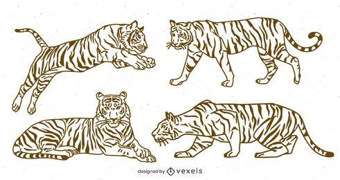 Pacote de Design Stroke Line Tiger