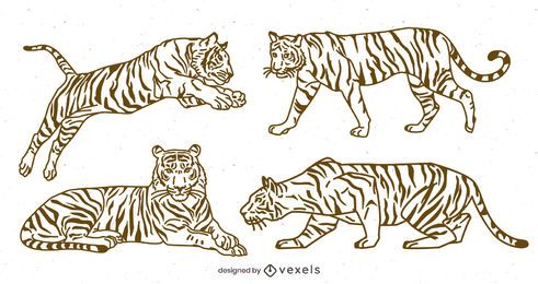 Paquete de diseño Stroke Line Tiger
