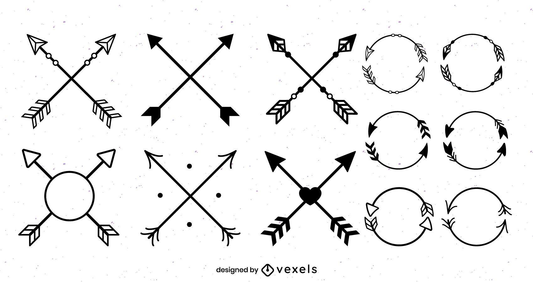 Paquete de diseño de forma de flecha