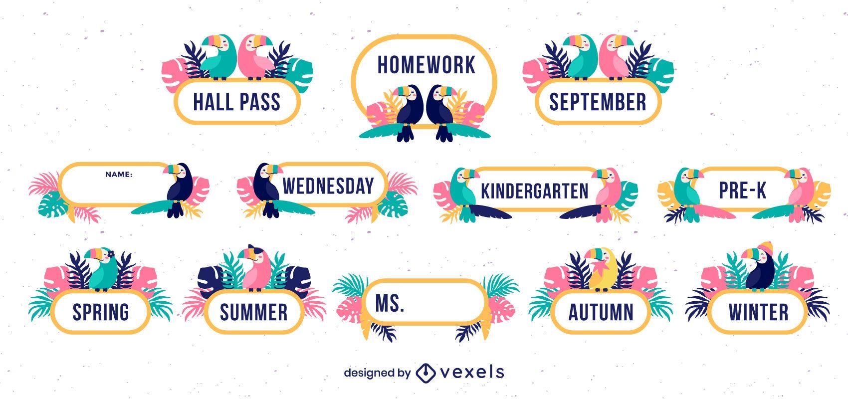 Tropical classroom decorative labels set