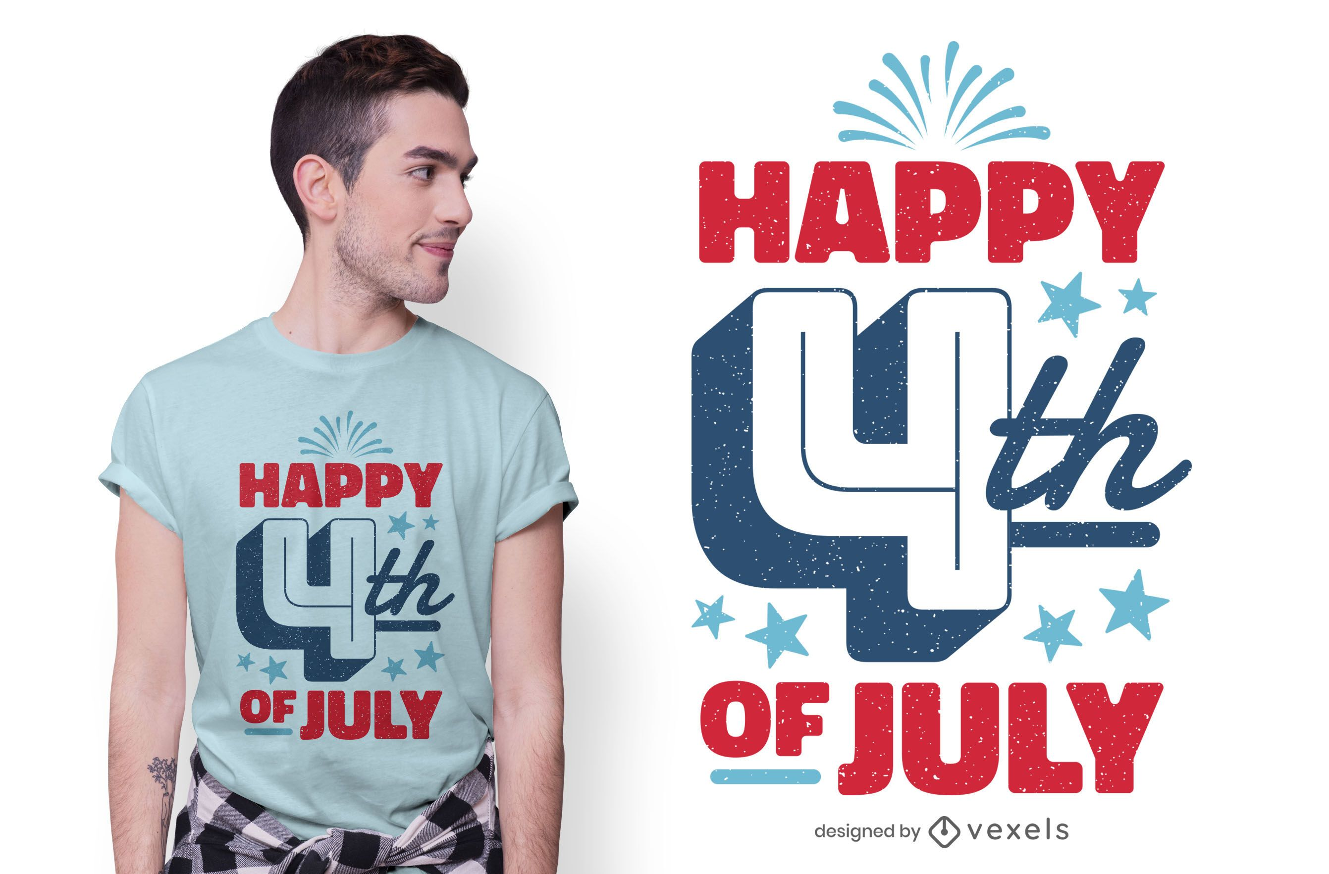 Diseño de camiseta feliz 4 de julio