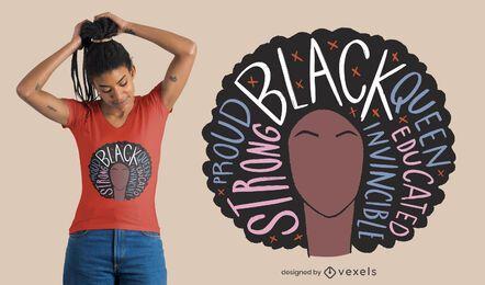 Design de t-shirt orgulhosa mulher negra