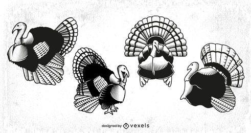 Conjunto de animales de pavo de acción de gracias