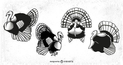 Thanksgiving turkey animal set