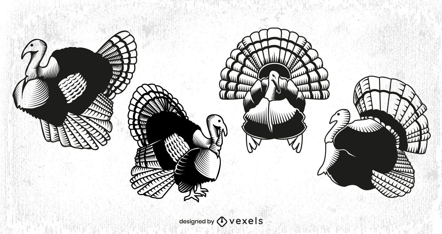 Thanksgiving turkey animal set