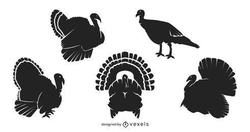 Thanksgiving turkey silhouette set