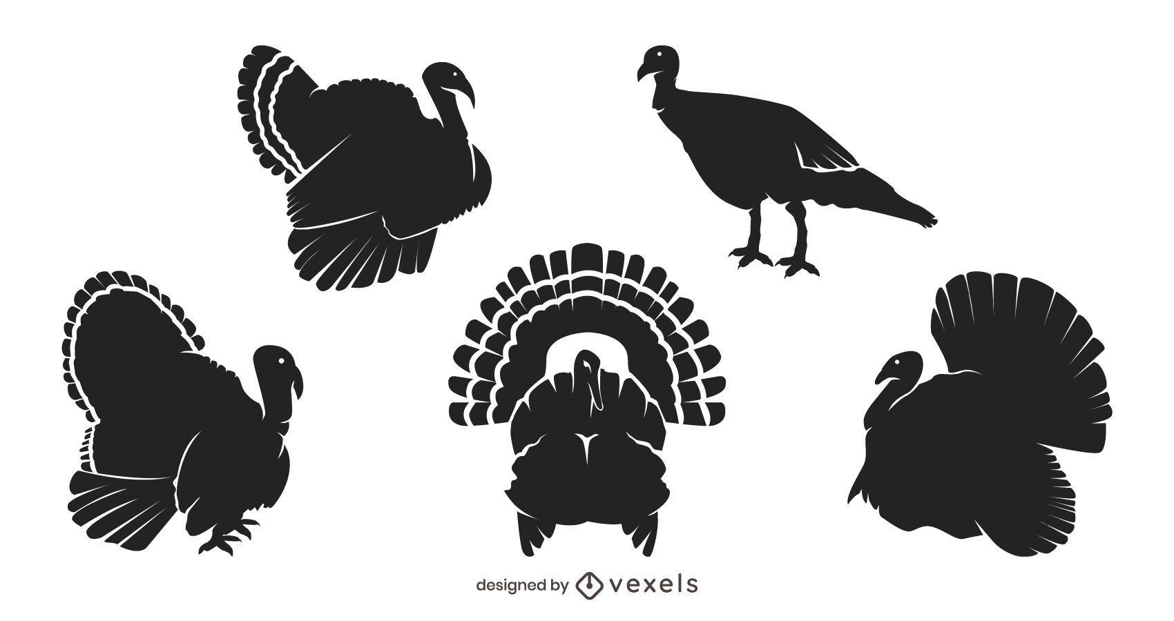 Thanksgiving turkey silhouette set