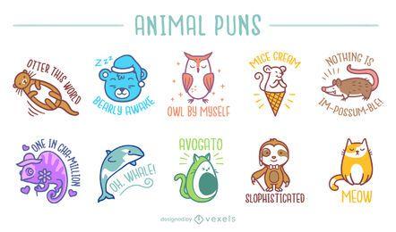 Conjunto de trocadilhos de animais fofos