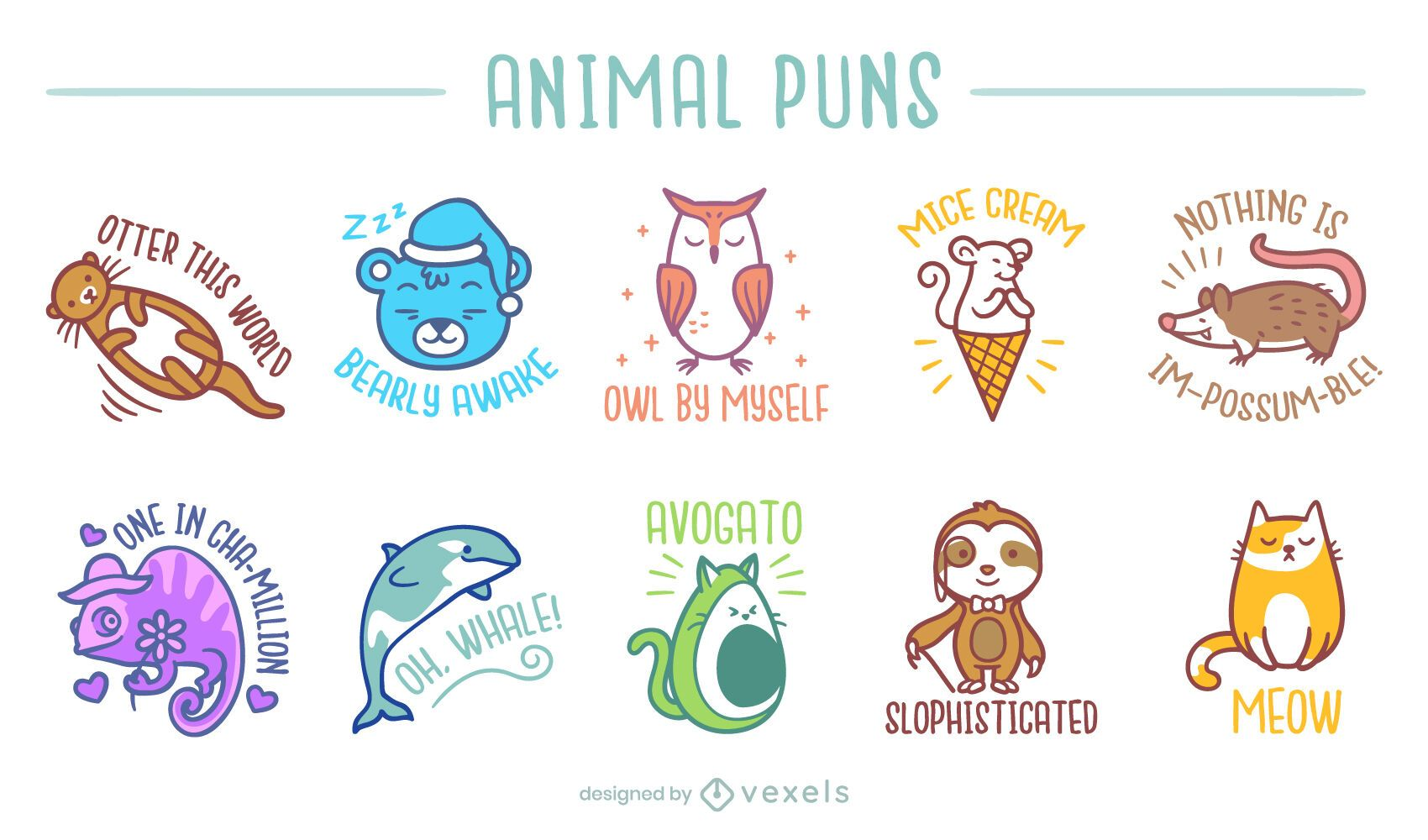 Cute animal puns set