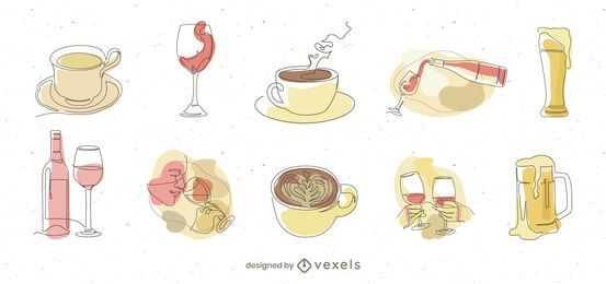 Pacote de ilustração de elementos de bebidas de restaurante