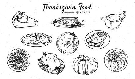 Conjunto de comida de ação de graças desenhado à mão